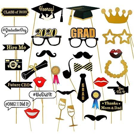 Dusenly 2020 Graduation Photo Booth Requisiten 30 St/ück Glitzer Bachelor Cap Brillenmasken Schnurrbart Graduation Party Requisiten f/ür 2020 Graduation Party Zubeh/ör