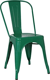 Poly and Bark Trattoria Kitchen and Dining Metal Side Chair in Dark Green