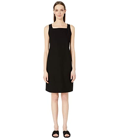 Eileen Fisher Washable Stretch Crepe Square Neck Knee Length Dress (Black) Women