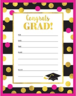 Graduation Gold Confetti Invitations (20 Count)
