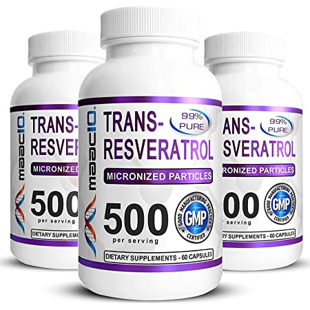 MAAC10 99% Pure Trans Resveratrol 500mg (3 Pack Micronized Resveratrol) Sirtuin Activator & NAD Boosting Supplement.