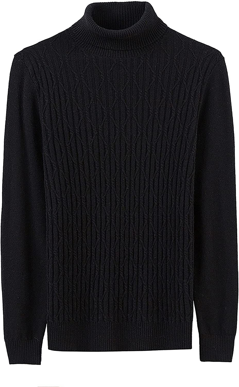 LZJDS Men's Slim Fit Turtleneck Sweater Cashmerecasual Pullover Sweater Basic Twist Patterned Knitted Sweater