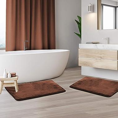 "Clara Clark Bathroom Rugs, Ultra Soft Non Slip and Absorbent, Velvet Memory Foam Bath Mat. Set of 2 - 17"" x 24"", Choc"