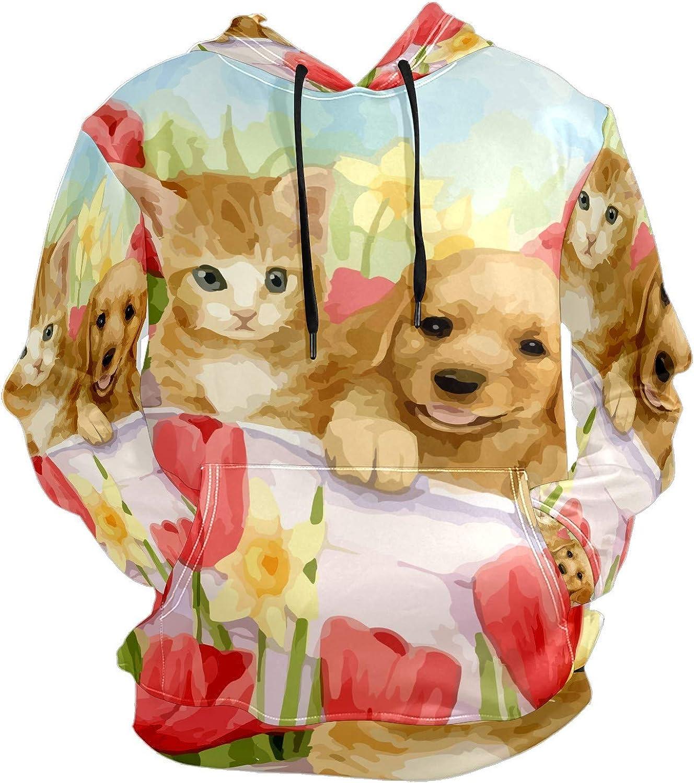 Men's Sport Hoodie Watercolor Orange Cat Labrador Puppy Flower Big and Tall Hoodies for Men Women Oversized Hooded Sweatshirt Hip Hop Pullover Hoodie Midweight Hood for Boys Girls