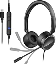 $50 » [2 Pack ] USB Headset with Noise Cancelling Mic New bee 3.5mm/Computer Headset with in-Line Call Controls Office Headset C...