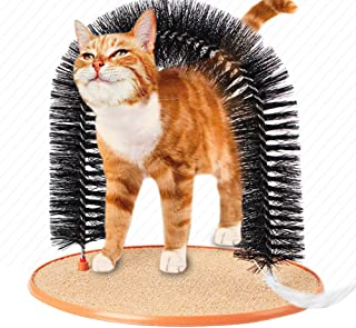 Morezi Soft Pet Cat Arch Self Grooming & Massaging Cat Toy Kitties Cat Arch Hair Trimming Brush Self Massage Brush Cat Scratcher Toy