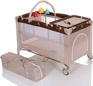 LCP Kids Babyreisebett Faltbar, Wickelauflage, Transporttasche ab Geburt bis 15 kg, Beige
