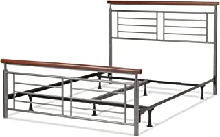 Leggett & Platt Fontane Complete Metal Bed and Steel Support Frame with Geometric Grills and Rounded Cherry Wood Color Top Rails, Silver Finish, Full