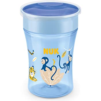 NUK Magic Cup Trinklernbecher | auslaufsicherer 360°-Trinkrand | 8+ Monate | BPA-frei | 230 ml | Affe (blau)