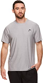 HEAD Men's Hypertek Crewneck Gym Tennis & Workout T-Shirt - Short Sleeve Activewear Top - Sleet Heather Score, X-Large