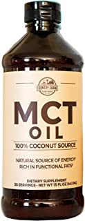 Country Farms MCT Oil Dietary Supplement, 15 fl. oz, 30 Servings