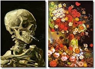 wall26 - Vase with Poppies, Cornflowers, Peonies and Chrysanthemums/Skull of a Skeleton with Burning Cigarette by Vincent Van Gogh - Oil Painting Reproduction in Set of 2-16
