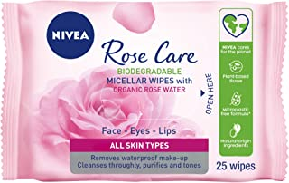 NIVEA Micellar Rose Water Face Cleansing Wipes, 25 Wipes