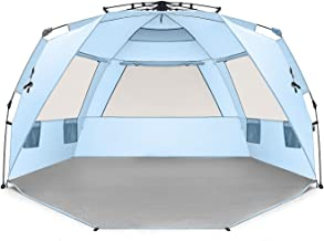 Easthills Outdoors Instant Shader Deluxe XL Easy Up 4 Person Beach Tent Sun Shelter - Extended Zippered Porch Included