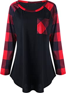 CharMma Women's Plus Size Round Neck Long Sleeve Patch Pocket Plaid Tunic Top