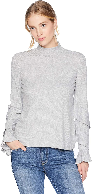 1.STATE Womens Long Sleeve Ruffle Sleeve Rib Knit Top