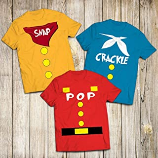 Snap Crackle Pop Costume Chef Bowl Of Milk Halloween Cute Group Customized Handmade T-Shirt Hoodie/Long Sleeve/Tank Top/Sweatshirt