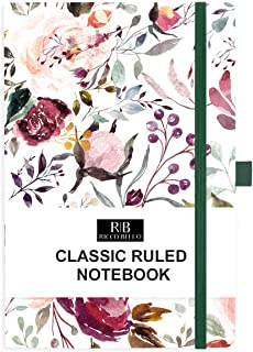 RICCO BELLO College Ruled Hardcover Journal Notebook - Pen Loop, Elastic Band Closure, Bookmark, Inner Pocket, 192 Lined Pages, 5.7 x 8.4 inches (Blossoms)