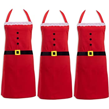 traderplus 3 Pcs Christmas Santa Red Kitchen Apron for Adult