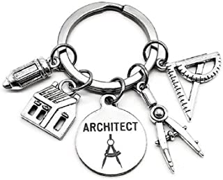Architect Keychain, Architectural Engineer Keychain, Architect Student, Architect Teacher, House Charm, Geometry Ruler, Compass, Ruler, Pencil Charm, Architect Gift, Architect Key Ring