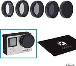 CamKix Cinematic Filter Pack Compatible with GoPro Hero 4 and 3+ Includes 4 Neutral Density Filters (ND2/ND4/ND8/ND16), a UV Filter and a Cleaning Cloth.