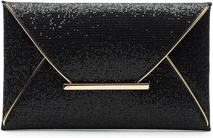 Womens Sequins Envelope Bag Evening Party Wedding Purse Clutch Handbag Wallet Black