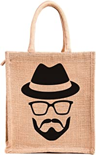 H&B Hipster-Handsome Hunk Printed Jute bags for lunch with Zip (Beige, Size:11x10x6 In)