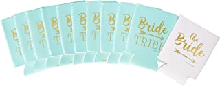 Bachelorette Party Decorations Bridal Shower Favors Can Cooler Sleeves 11pcs | Bride Tribe Gifts, Wedding Accessories, Bridesmaid, Supplies, |10 Mint Green & 1 White
