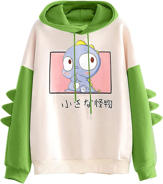 Womens Dinosaur Sweatshirts Cartoon Cute Hoodies Teen Girls Long Sleeve Splice Tops Casual Pullover Warm Winter Blouse