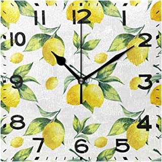 Naanle Tropical Lemon Leaves Pattern Square Wall Clock Decorative, 8 Inch Battery Operated Quartz Analog Quiet Desk Clock ...