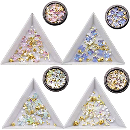 4 Boxes 3D Butterfly Nail Charms Butterfly Acrylic Nail Art Stud Pearl Metal Rivets Glitter Butterfly Charms Nail Designs 2021 for Nail Art DIY Crafting Design