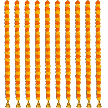 iHandikart Handmade Decorative Marigold Fluffy Artificial Garland, Size 60x2.5 inches Used for Home/Office Decoration, Yellow, Light Orange Colour (Pack of 10)