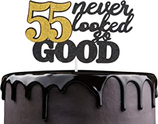 55 Never Looked So Good Happy Birthday Cake Topper - Black Glitter Fabulous Fifty Five Years Anniversary Cake Décor - Cheers To Successful Man Women 55th Birthday Party Decoration