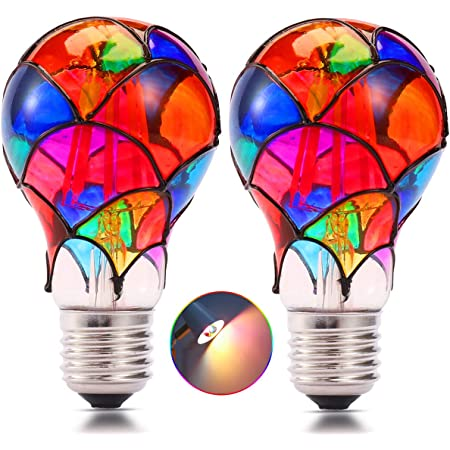 Average Life 10,000 Hours UL Approved Instant On 110 Volts Uses 2 Watts of Energy SleekLighting 2 watt LED Light Bulb General Purpose Multi Color LED Light Bulb Fairy Like Fireworks ST19