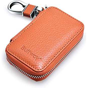 VSLIH Car Keychain,Leather Car Smart Key Chain Coin Holder Metal Hook and Keyring Wallet Zipper Bag for Vehicle Keyless Entry-Red