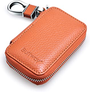Buffway Car Keychain,Genuine Leather Car Smart Key Chain Coin Holder Metal Hook and Keyring Wallet Zipper Bag for Vehicle Keyless Entry - Brown