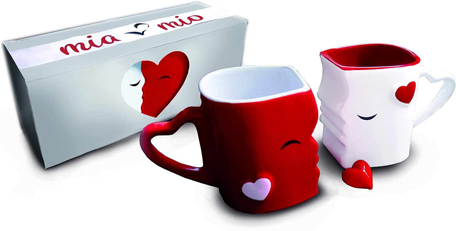 Mia Mio Coffee Mugs Kissing Mugs Bridal Pair Gift Set For Weddings Birthday Anniversary With Gift Box Red