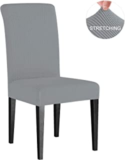 Subrtex Dining Room Chair Slipcovers Sets Stretch Furniture Protector Covers for Armchair Removable Washable Elastic Parsons Seat Case for Restaurant Hotel Ceremony(2 Pieces, Light Gray Checks)