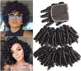 Molefi Funmi Hair 4 Bundles With Closure Bouncy Curly Weave Human Hair Bundles With 4x4 Lace Closure 100% Brazilian Virgin Human Hair Extensions 50g/pc Soft and Thick (10 10 12 12+10 Closure)
