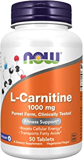 NOW Supplements L-Carnitine 1,000 mg Purest Form Amino Acid Fitness Support, 50 Tablets