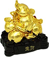 Betterdecor Feng Shui Gold Chinese Rat/Mouse Year of 2020 Zodiac Statue Home Office Decoration for Good Luck (Rat)