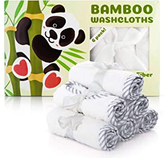 Premium Baby Washcloths – 100% Bamboo Baby Towels Set of 6 – Ultra Soft and Absorbent Baby Bath Towel Pack – Perfect Baby Shower Gift for Baby Boy or Girl by San Francisco Baby