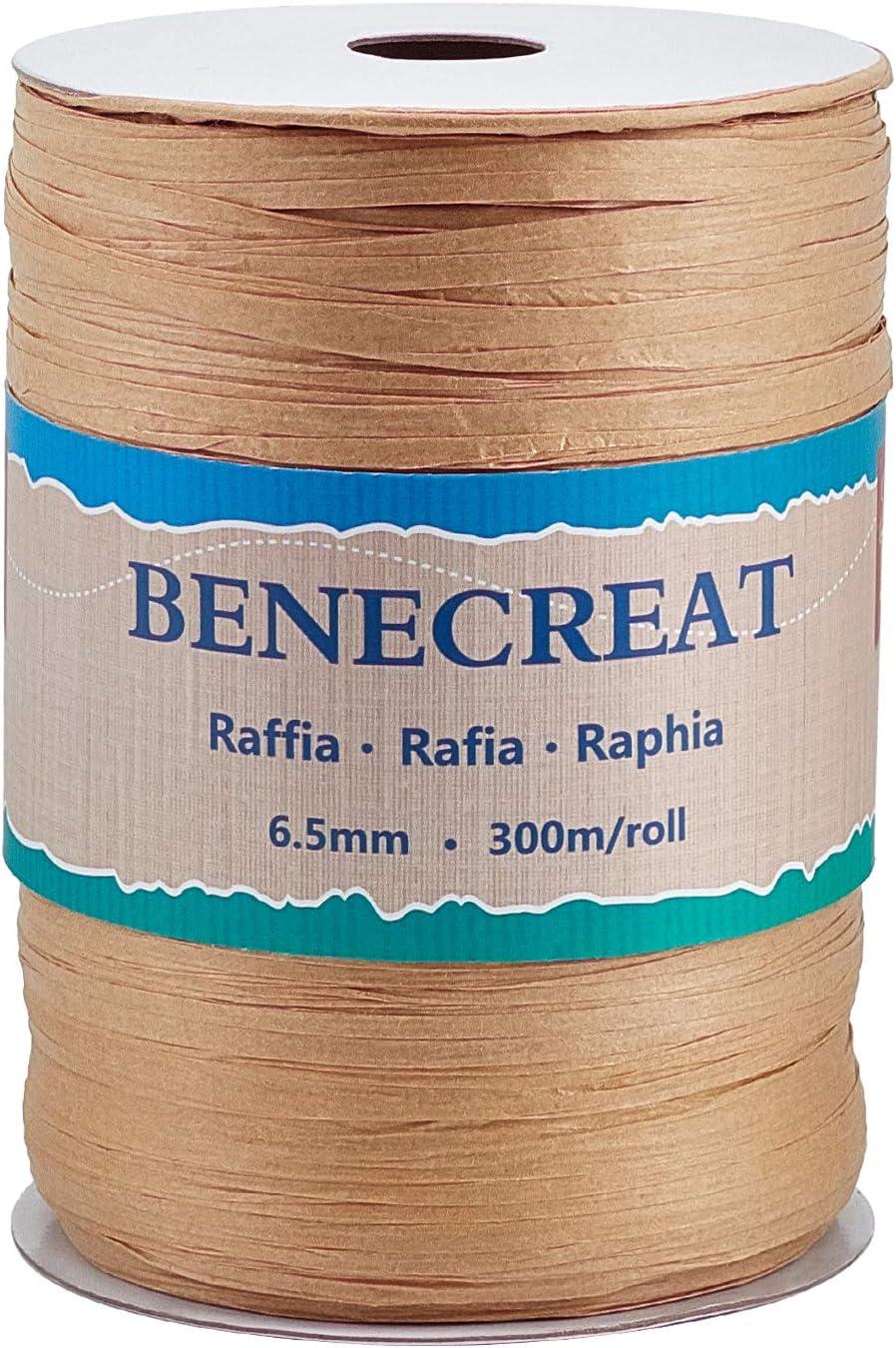 BENECREAT 300m 6.5mm Cinta de Rafia Cinta de Papel Craft Color Madera Cuerda de Rafia para Embalaje de Regalo, Flor, Decoración de Tejido de Artesanía