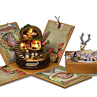 Rylai Miniature Dollhouse 3D Puzzles Rotatable Music Box DIY Kits for Girls Fantasy Forest with Furniture LED