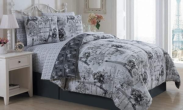 现代生活巴黎埃菲尔铁塔黑色白色蝴蝶花可逆双人被子集 6 件床在一个包自制蜡融化