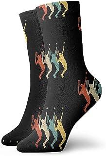 Popweek01 - Calcetines de tenis, estilo vintage, retro, 70 y 80, para jugar al tenis, tobillo, deportivos, para hombres y mujeres, 11,8 pulgadas