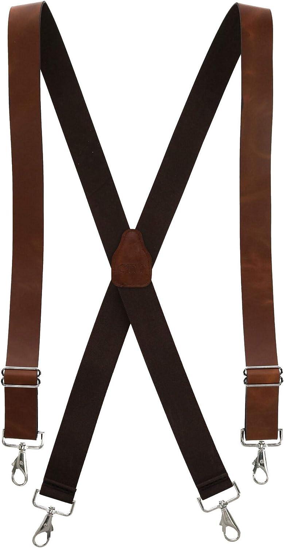 CTM Men's Smooth Leather Wide Width Suspenders with Metal Swivel Hook Ends