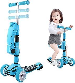 Hikole - Patinete infantil 3 en 1 con asiento plegable ajustable con pedales de goma suave y gran patinete de 3 ruedas iluminado para niños y niñas a partir de 2 años