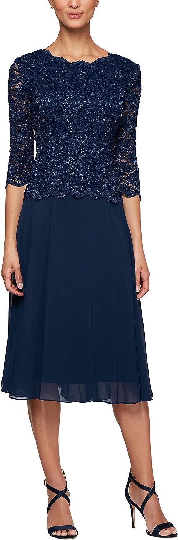 Alex Evenings Women's Sequin Lace Mock Dress (Petite and Regular)