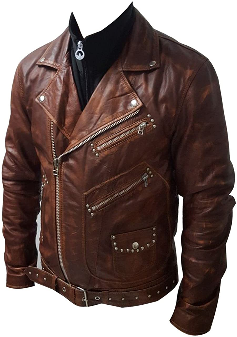 MTW Men's Leather Jacket Gent's Fashion Leather Jacket Stylish Motorcycle Biker Genuine Leather Jacket Brown